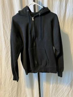 mens black zip up hooded sweatshirt jacket