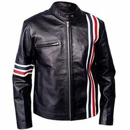 Mens Captain Peter Fonda Usa Flag Leather Jacket With Red an