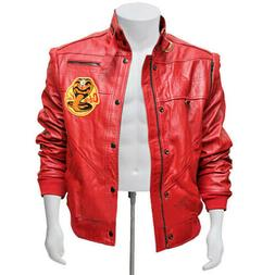 Mens Cobra Kai The Karate Kid Johnny Lawrence Red Real Leath