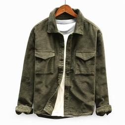 Mens Corduroy Casual Lightweight Jacket Button Down Two Pock