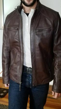 Mens dark brown real leather biker jacket  -- Helium hE2 thr