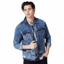 Adam Levine Mens Denim Jacket Blue, Distressed Collar, Cotto