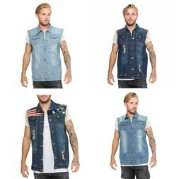 Mens Denim Lapel Vest Casual Sleeveless Slim Fit Ripped Bike