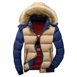 Mens Down Cotton Jacket Hooded Fur Collar Winter Warm Thick