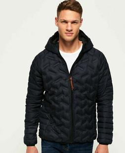 Mens Superdry Down Radar Mix Quilted Jacket Navy