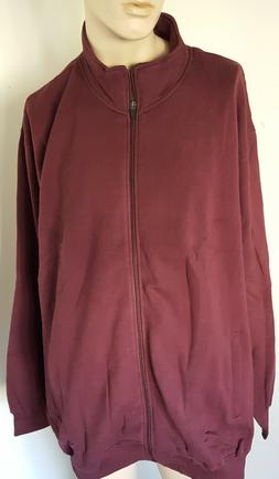 Mens Fleece Jacket Full Zippered Deep Burgundy BIG Sizes Kin