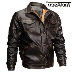 US XS Mens Fleece Lining PU Leather Jacket Winter Motorcycle