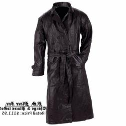 Mens Genuine Leather Full Length Trench Black Coat with Belt