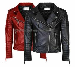 MENS GENUINE LEATHER JACKET SLIM FIT REAL BIKER NEW VINTAGE