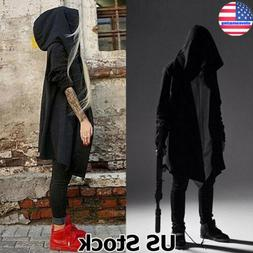 mens gothic steampunk outwear hooded coat long