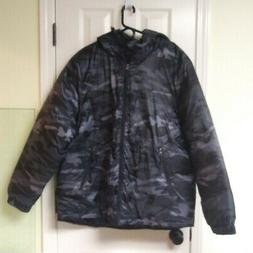 Outdoor Life Mens Hooded Puffer Jacket Camouflage Black & Gr