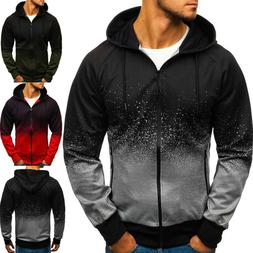 Mens Hooded Sweatshirt Hoodie Jogger Jacket Coat Zip Up Casu