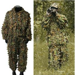 Mens Hunting Clothes Camouflage 3D Leafy Hooded Jacket Pants
