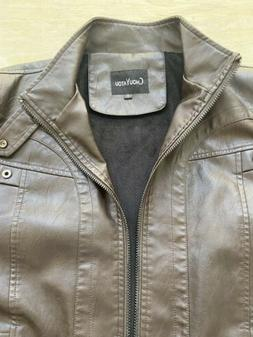 chouyatou Mens Jacket Brown Size Small S Faux-Leather Vintag