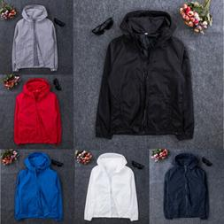 Mens Jacket Coat Thin Sports Windbreaker Hooded Men's Fall L