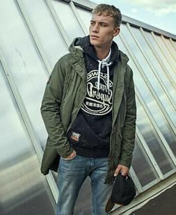 Mens Superdry Military Parka Jacket Forest Night