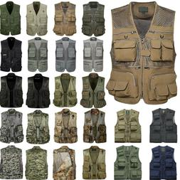 Mens Multi-pocket Fishing Hunting Hiking Vest Gilet Camo Jac