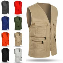 Mens Multi-Pocket Outdoor Vest Fishing Hiking Photography Wa