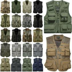 Mens Multi Pocket Waistcoat Jacket Fishing Hunting Photograp