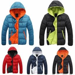 Mens Padded Bubble Coat Hooded Quilted Puffer Jacket Warm Wi