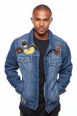 Mens Popular Patched Casual Collared Fashion Denim Jacket DJ