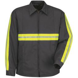 Red Kap Mens Reflective Perma-Lined Work Jacket - Charcoal