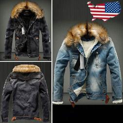 Mens Ripped Jacket Fur Denim Collar Lining Fleece Jeans Oute