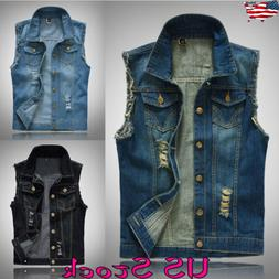 Mens Ripped Sleeveless Denim Jacket Waistcoat Casual Hippy J