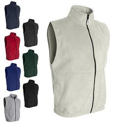 mens sleeveless jacket full zip fleece vest
