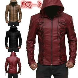 Mens Steampunk Hooded Leather Jacket Autumn Motorcycle Coats