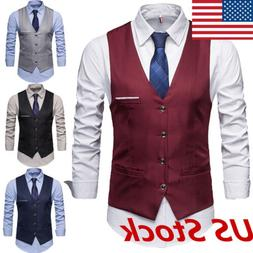 Mens Suit Vest Formal Business Wedding Party Tuxedo Waistcoa