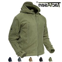 TACVASEN Mens Tactical Recon Zip Fleece Jacket soft Hoodie S