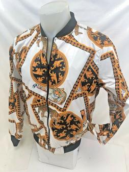 Mens PREMIERE TRACK JACKET WHITE LEOPARD SPOTTED Zip Up 2 PO