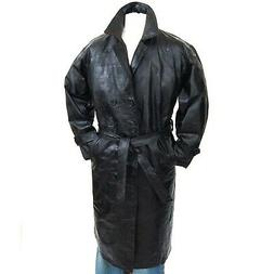 Mens Trench Coat Genuine Leather Double Breasted Long Jacket