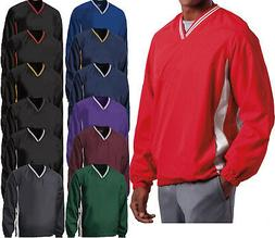 Mens Wind Shirt Windbreaker Jacket Lined V-Neck Pockets Pull