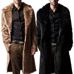 Mens Winter Faux Fur Warm Coat Parka Male Fashion Jacket Ove