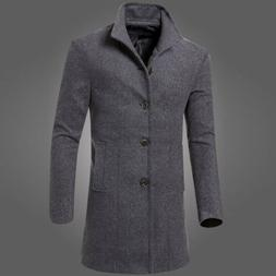 Mens Winter Jacket Coat Warm Trench Long Overcoat Casual Woo