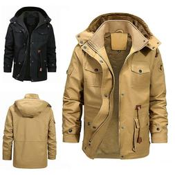 Mens Winter Thick Fur Lined Hooded Jacket Zipper Bomber Mili