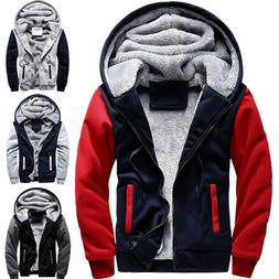Mens Winter Thick Warm Fleece Fur Lined Hoodie Zip Up Coat J