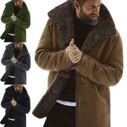 Mens Winter Warm Lined Trench Coat Lapel Casual Fluffy Fur F