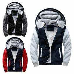 Mens Winter Warm Thick Fleece Hooded Hoodie Coat Zip Up Jack
