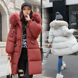 Mens Women's Winter long Down Cotton Ladies Hooded Coat Quil