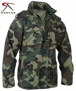 Mens Woodland Camouflage Lightweight M-65 Military Style Fie