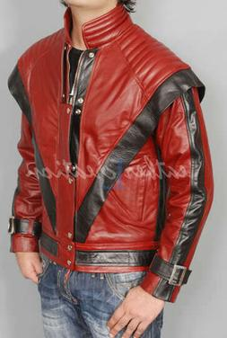 Michael Jackson THRILLER MJ RED Real Leather Jacket HALLOWEE