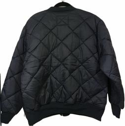 navy blue mens diamond nylon quilted bumber