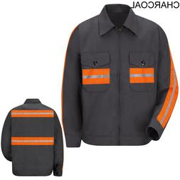 NEW! Red Kap Enhanced Visibility Reflective Work Jacket Char
