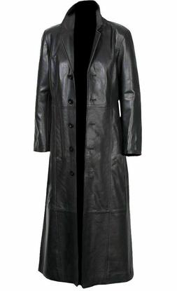 NEW Leather Trench Coat Long Coat For Men - Genuine Lambskin