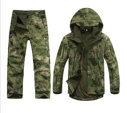 New Men Green Camouflage Hunting Clothing Waterproof Hooded