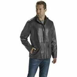 NEW Nuvano Men's Big And Tall Lambskin Leather Jacket - Blac