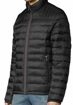 New Tommy Hilfiger Mens Down Quilted Packable Logo Jacket Bl